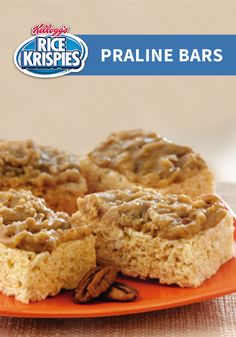 Your favorite winter flavors come together in this easy winter dessert recipe from Rice Krispies®. Sweet brown sugar and buttery pecan praline top your favorite Rice Krispies Treats® for a holiday twist on a classic family recipe.