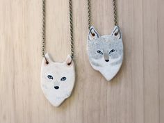 REVERSIBLE Wolf necklace Earthenware ceramic bisque by HandyMaiden, $60.00
