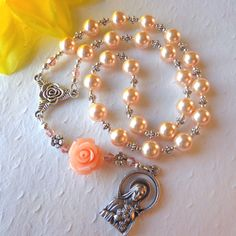 SALE - St. Therese Chaplet  The Little Flower Rosary by HeavenlyHandsMade, $28.00