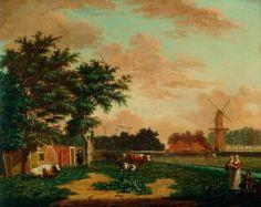 Warnaar Horstink, View of the `Het Fortuin Mill on the Achter Nieuwe Gracht (now Parklaan) at Haarlem, ca. 1800. Frans Hals Museum #franshalsmuseum #haarlem #art