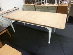 New French Oak & Cream Large Extending Dining Table 1.8-2.3M *Branded…