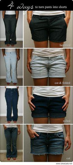 Turn pants into shorts