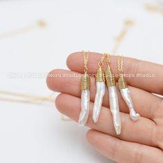 Rauwe vers Water Parels ketting / Gemstone ketting, bruidsmeisjes halsketting…