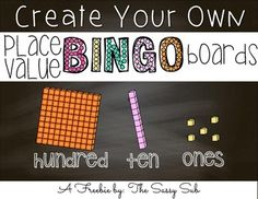 Are you looking for a fun way to review place value up to 3 digits? This create your own bingo board game includes numbers in base-10 blocks, expanded form and hundreds/tens/ones form.Simply print the blank bingo card along with the bingo space cards--have students cut and paste to create their own unique card!