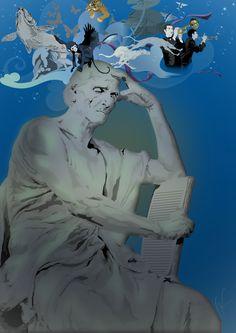 Ilustração de fantasia por G. Pawlick em digital art, confeccionada para uma coluna de revista