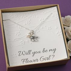 Flower Girl Necklace, Will you be my flower girl - Flower and Pearl Necklace or birthstone