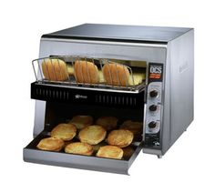 """Star Holman QCS Conveyor Toaster - QCS3-1400BH    Holman QCS Conveyor Toaster, high volume, electric, horizontal conveyor, 3"""" product opening, 14""""W belt (3 slice), attached load-up tray, quartz sheathed heaters, toast or bun control modes, 1400 slices/hour, stainless steel construction, UPS"""