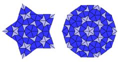 "Higher order versions can then be obtained by deflation. For example, the illustrations above depict the third-order deflations (Hurd).  Weisstein, Eric W. ""Penrose Tiles."" From MathWorld--A Wolfram Web Resource. http://mathworld.wolfram.com/PenroseTiles.html"