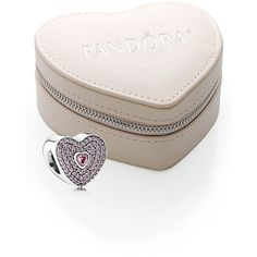 Women's PANDORA Boxed Valentine's Day Heart Bead Charm ($72) ❤ liked on Polyvore featuring jewelry, pendants, beading charms, heart charm, valentines day jewelry, pandora jewellery and sterling silver bead charms