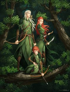 Legolas, Tauriel, and their son by hueco-mundo. I am going to pretend that the boy is a girl because it looks like my oc, Vanyasay (Daughter of Legolas and Tauriel) Fantasy Male, Fantasy World, Tolkien, Dnd Characters, Fantasy Characters, Character Inspiration, Character Art, Elfen Fantasy, Legolas And Thranduil