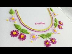 Be welcome to a new hand embroidery tutorial. On today's video, I am going to show you a neck design with lazy daisy stitch flowers. Hand Embroidery Flowers, Hand Embroidery Tutorial, Hand Embroidery Designs, Ribbon Embroidery, Embroidery Stitches, Flower Step By Step, Lazy Daisy Stitch, Margarita, Embroidered Clothes
