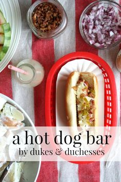 how to set up a hot dog bar for summer entertaining - Recipes Hot Dogs, Grilled Watermelon, Hot Dog Toppings, Hot Dog Bar, Bbq Party, Summer Bbq, Summer Desserts, Perfect Party, Food Network Recipes