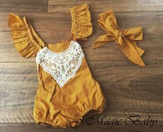 Baby Girl Toddler Mustard Lace Vintage Romper by JMagicBaby