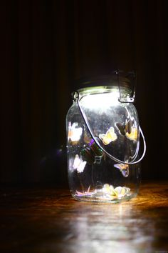 Butterfly Solar Jam Jar. A beautiful craft project for a little girl...