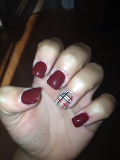 Burberry inspired acrylic nails that i had done several months ago. #nails #burberry #burgundy #red #plaid #acrylic