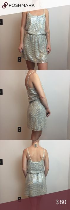Parker Silk Grey Sequined Sleeveless Party Dress Parker Dress sequined and is stunning silk and a size extra small. Not lined but has minimal wear. Worn twice. Parker Dresses