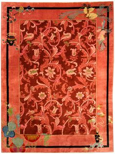A Chinese Art Deco carpet BB4169 - by Doris Leslie Blau.  A whimsical second quarter 20th century Chinese Art Deco carpet, the deep red field with dramatic leafy vines ...