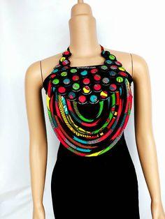 Ankara necklacerope necklaceAfrican necklaceAnkara jew
