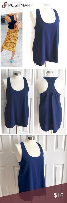 Frenchi Navy Blue Racer Back Tank Top Midnight navy blue sleeveless racer back style shirt, 97% polyester 3% spandex. Frenchi brand from Nordstrom size medium. First photo on left not actual item just showing for styling inspiration! Frenchi Tops