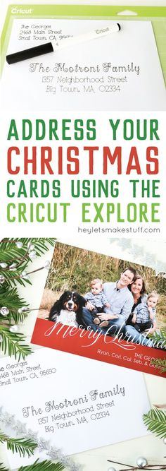 "Put your Cricut Explore to work—have it address Christmas cards! Using the pen tool, the Cricut Explore can beautifully ""hand letter"" your Christmas cards for you. AD"