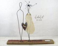 Rustikale böhmischen Draht Skulptur Treibholz Mischtechnik Kunst Jubiläum Hochzeit paar Geschenk