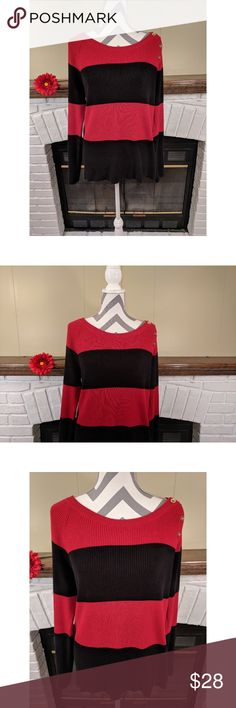 """United States Sweaters Striped Boatneck Sweater United States Sweaters Red & Black Striped Boatneck Sweater in excellent used condition. Features 3 gold buttons atop the left shoulder.  Size: XL. Material: 100% cotton. Machine washable.  Approximate measurements: - Bust: 18"""" - Length: 26""""  Smoke-free home. United States Sweaters Sweaters"""