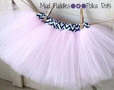 Navy Chevron Lined Tutu Skirt Navy Blue and white chevron lining with your choice of tulle color, girls, baby, toddler, infant, birthday, shower, princess, cheerleader, Mud Puddles and Polka Dots