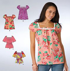 Misses PEASANT TOP Sewing Pattern - Plus Size Tunic Tops & Belt - 6 Sizes