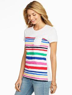 Brushstroke-Stripes Pocket Tee - Talbots