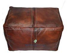 Bohemia Marrakech pouf leather Original by BohemiaMarrakechCom Moroccan Pouffe, Moroccan Leather Pouf, Moroccan Art, Square Pouf, Square Ottoman, Leather Pouf Ottoman, Stitching Leather, Poufs, Handmade