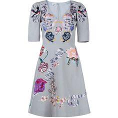 Temperley London Light Grey Sailor V-Neck Flared Dress (8.845 RON) ❤ liked on Polyvore featuring dresses, short sleeve lace dress, lace flare dress, short sleeve mini dress, v neck a line dress and lace a line dress