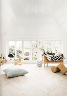 white home, sun filled with chevron blankets and striped accents