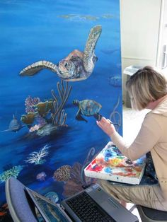 sea turtle painting murals | Christine Thomas at the canvas, creating her own little underwater ...