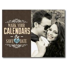 Blue and Brown Lace Save the Date with Hearts Post Card