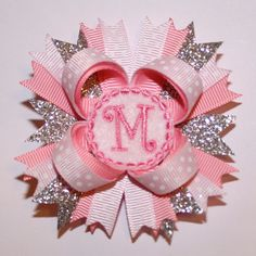 """2.5"""" Mini Personalized Pink Glitter Stacked Hair Bow"""
