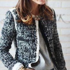 classic black and white tweed jacket
