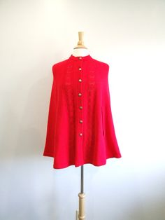 1960s Sweater Cape Vintage 60s Red Pointelle Cape by RedsThreadsVintage, $38.00
