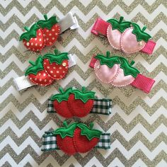 In ❤️ with this Strawberry Fields Collection ! These clippies can be made into baby headbands made with soft elastic thats perfect for even the smallest little heads. #strawberryclippies #hairclips #daintyhairaccessories