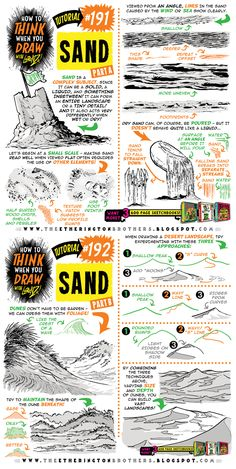 How to THINK when you draw SAND tutorial by EtheringtonBrothers on DeviantArt Drawing Lessons, Drawing Techniques, Drawing Tips, Drawing Reference, Drawing Ideas, Landscape Drawing Tutorial, Landscape Drawings, Art Drawings, You Draw