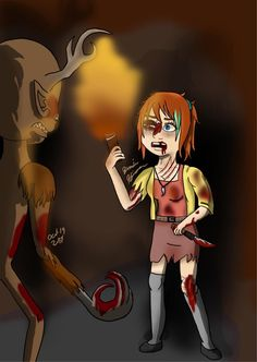#Girl#Wendigo##Cave ##Scared #Halloween  #digital #art #hand drawing #Microsoft Pro 4