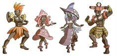 Guardian deities by Kikaigaku on DeviantArt Pokemon Costumes, Pokemon Dolls, Pokemon Cosplay, Pokemon Fusion Art, Pokemon Fan Art, Pokemon Ships, Pokemon Stuff, Rayquaza Pokemon, Pokemon Human Form
