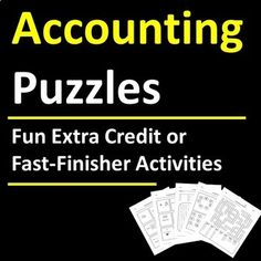 5 pages of accounting terms puzzles (word search, fill-in, rebus, word scramble) are fun extra credit, fast-finisher, sub day, or supplemental activities to introduce or reinforce accounting / business vocabulary. Just print and go! Includes 5 engaging puzzles and corresponding answer keys. Accounting Classes, Bookkeeping And Accounting, Accounting Online, Business Education Classroom, Fast Finishers, Career Exploration, Homeschool High School, Class Activities, Vocabulary Words