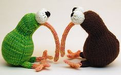 """Knitted Kiwi Birds from knitty.com...such a cute present for a """"little one""""!  The nose would be a big hit for babies who like to chew on everything."""