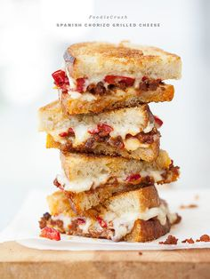 April Is National Grilled Cheese Month. Chorizo And Peppadew Pepper Grilled Cheese From: Foodie Crush, please visit Tapas Recipes, Cheese Recipes, Cooking Recipes, Cheese Food, Lunch Recipes, Queso Cheese, Cheese Bread, Easy Recipes, Vegan Recipes