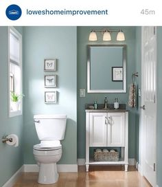 I love the vanity, the baseboards...everything || Sherwin Williams Worn Turquoise