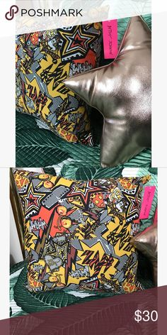 """NWT Rare Betsey Johnson comic book pillow Paid $63 but it no longer matches the theme of my bedroom. Brand new with tags, it's really hard to part with this one! I love the comic book """"zaps"""" and """"whams"""" and female """"super babes"""" pattern, definitely a betsey johnson original. Other"""