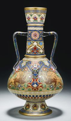 A Lobmeyr Persian-style gilded & enamelled two-handled clear glass bottle vase, Vienna, 19th/20th century