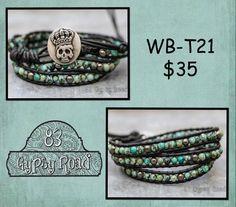 WB-T21 beaded wrap bracelet Triple wrap black by 83GypsyRoad