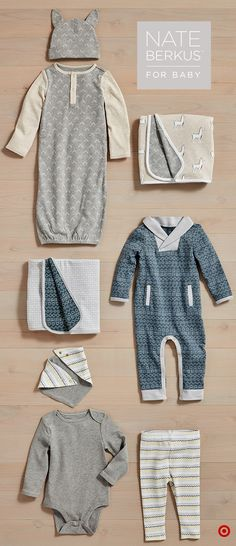 Dress your baby in seriously sweet style with the Nate Berkus layette collection, only at Target. There's something for every baby, including bodysuits, pants, sleep 'n plays, rompers and sets. For both boys and girls, these pieces are available in beautiful, rich colors like peach, heathered gray and oatmeal, sage and more. Sold as separates and outfits, these pieces can easily be mixed and matched for a perfectly posh look.