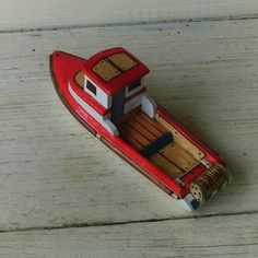 Red Skeena  Wooden Toy Gillnet Fishing Boat by toyboatworks.etsy, $29.00